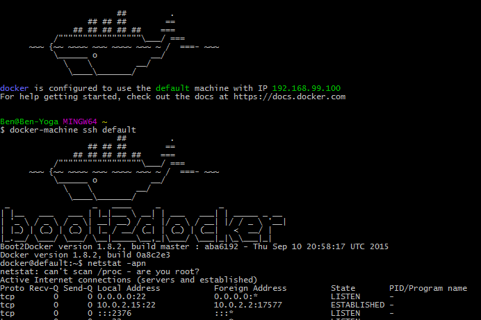 Docker Machine Netstat